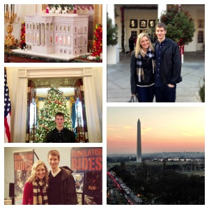 The White House gingerbread house, Grant and I at the White House on our tour, a view from POV at the National Monument, and the two of us after our Flight Simulator Ride at the Air and Space Museum