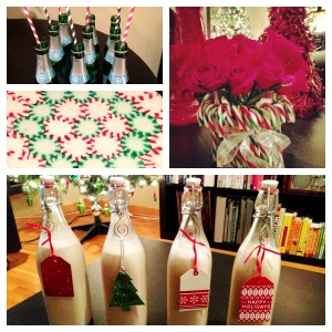 Mini Champagne Bottles with fun straws, Peppermint plate (so easy to do!), Candy Cane Roses, and Homemade Irish Cream (thanks to the help of my wonderful sister...and our family friend's secret recipe!)