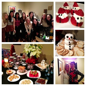 All of the girls at my apartment, our cute table, Mini Strawberry Santas (NOT an easy task), Goat Cheese Santa, and my wonderful co-host (my sister!)