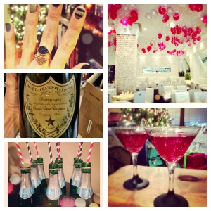 My new rings (a New Year's gift to myself), a bottle of Dom from my parent's wedding anniversary in 1976), Mini Champagne bottles from my girls Christmas party, Balloons at OYA and Pomegranate Martinis I made.  Cheers!