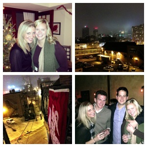 Ashley and I at her apartment for her Wine and Cheese party, the view of the city from her rooftop, hanging an IU flag outside, and the four of us at Tressle Inn